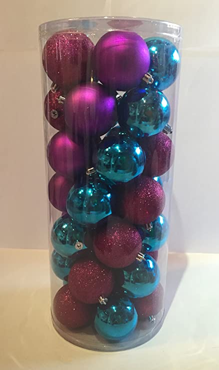 christmas ornaments jumbo christmas ball ornaments 35pcs plastic turquoise purple and pink glitter