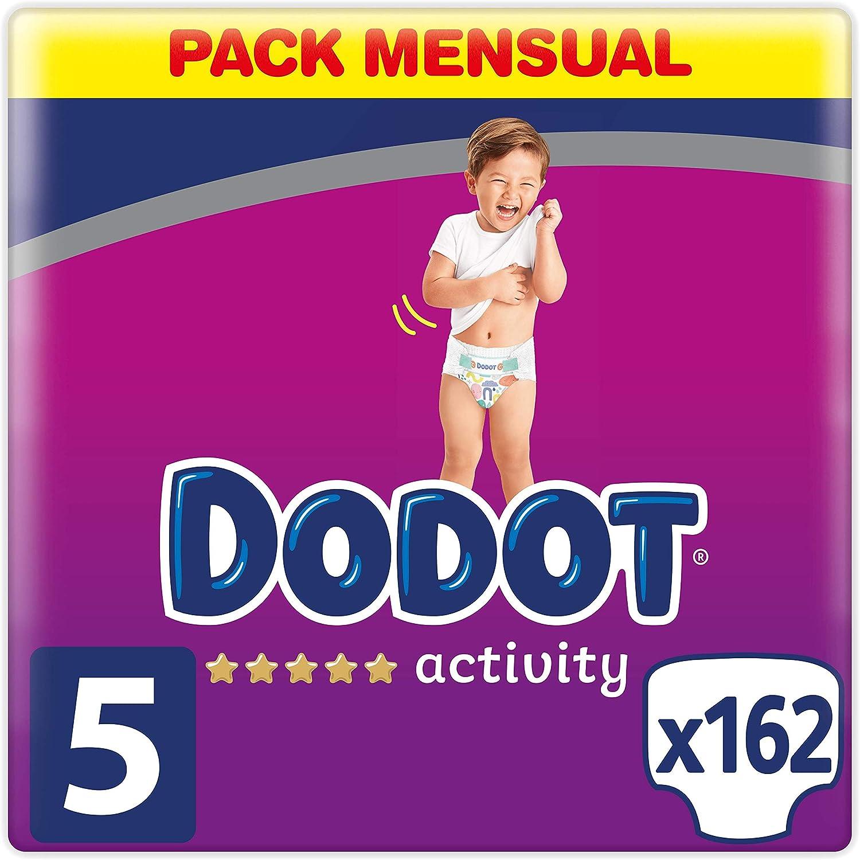 Dodot Activity Pañales Talla 5, 162 Pañales, 11-16 kg, Pañales con ajuste más resistente