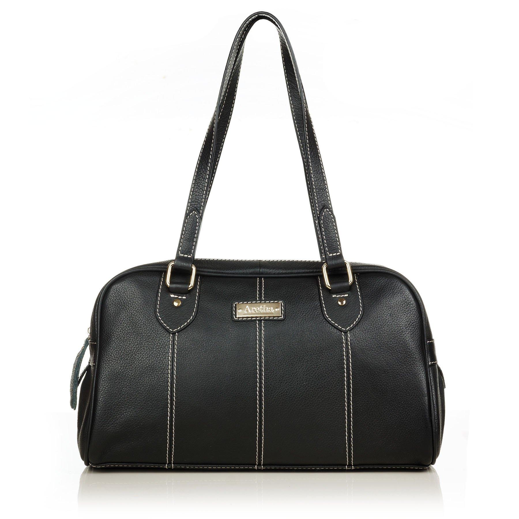 aretha 141281-BL Sporty Women Genuine Cowhide Leather Shoulder Tote Handbag Black