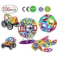 Deals on DreambuilderToy 106 PCS Magnetic Tiles Set