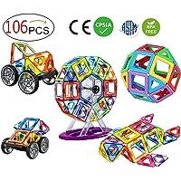 DreambuilderToy 96 PCS Magnetic Tiles Set, STEM Building Block Preschool Educational Construction Kit,3D Magnetic Toys (96 Pieces)