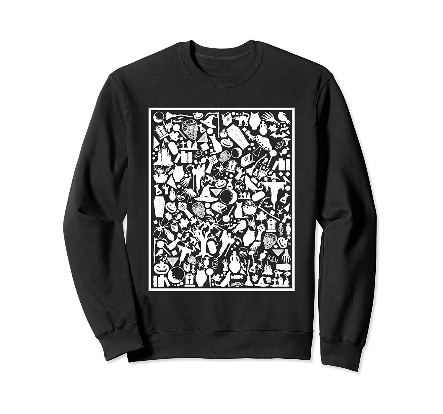 Halloween Collage Cool Black and White Sweatshirt-Rose