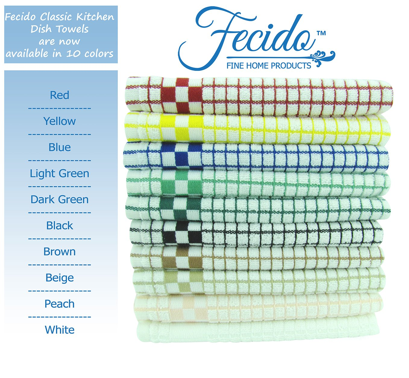 Fecido Classic Kitchen Dish Towels Set - Heavy Duty - Super Absorbent - 100% Cotton - Professional Grade Dish Cloths - European Made Tea Towels - 10 Pack, Multi Color by Fecido (Image #3)