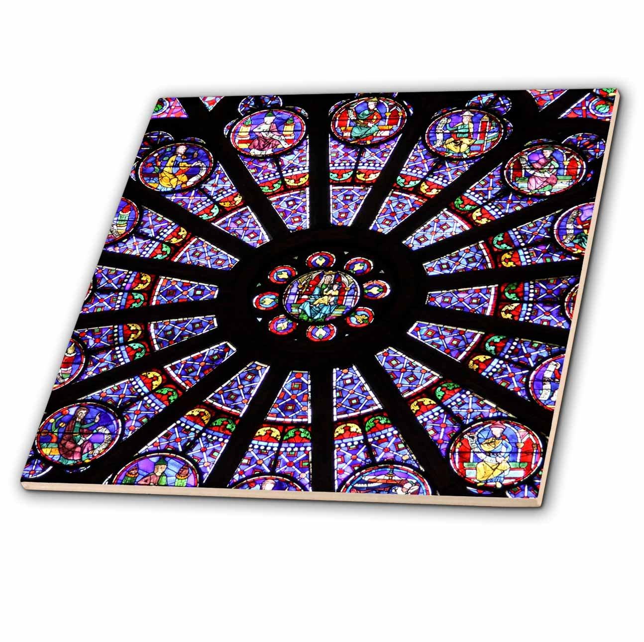 Paris 3dRose ct/_137008/_1 Window in Notre Dame Cathedral 4-Inch France-Eu09 Wsu0027-William Sutton Ceramic Tile