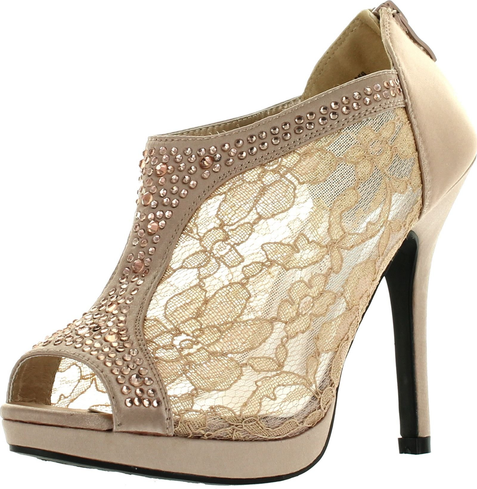 De Blossom Yael-9 Womens Wedding Bridal High Heel Platform Cystal Lace Ankle Bootie Shoes,Nude,10