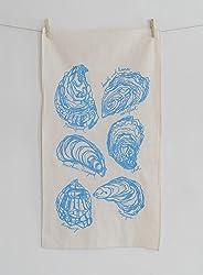 Oyster Tea Towel in Sky Blue - Flour Sack Towel - Nautical Kitchen Towel - Natural Cotton Dishcloth - Hand Printed Towel