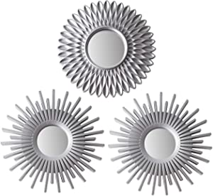 Wall Mirrors Pack of 3 BONNYCO | Silver Mirrors for Living Room, Home Decor for Bedroom | Mirrors Silver Wall Decor Round | Decorative Mirror, Vintage & Chic Home Accessories - Gifts for Women, Mums