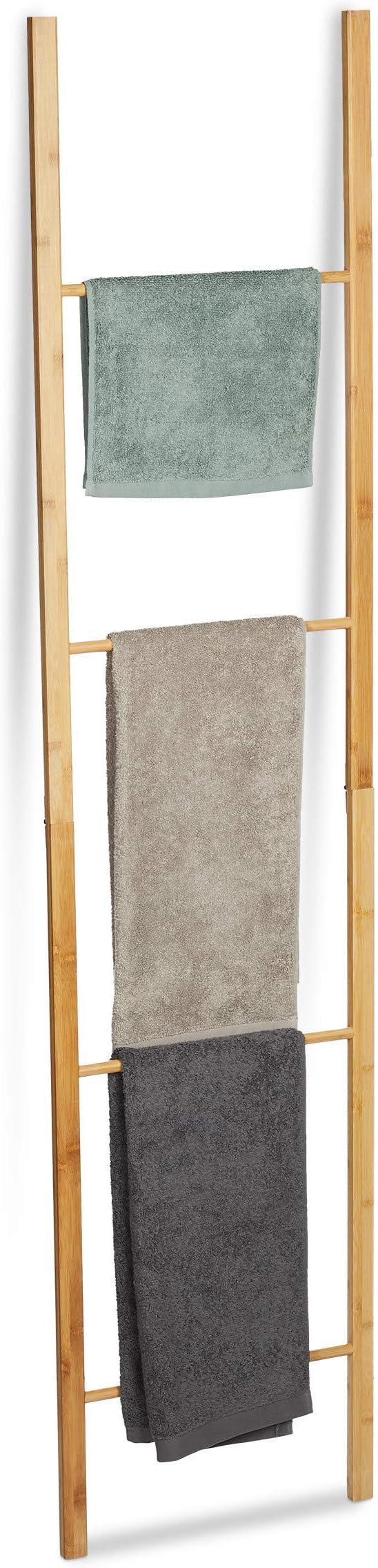 Relaxdays Bambus Handtuchleiter klappbar 4 Handtuchstangen Handtuchständer zum Hinstellen HBT 180 x 42 x 2 cm Natur Größe