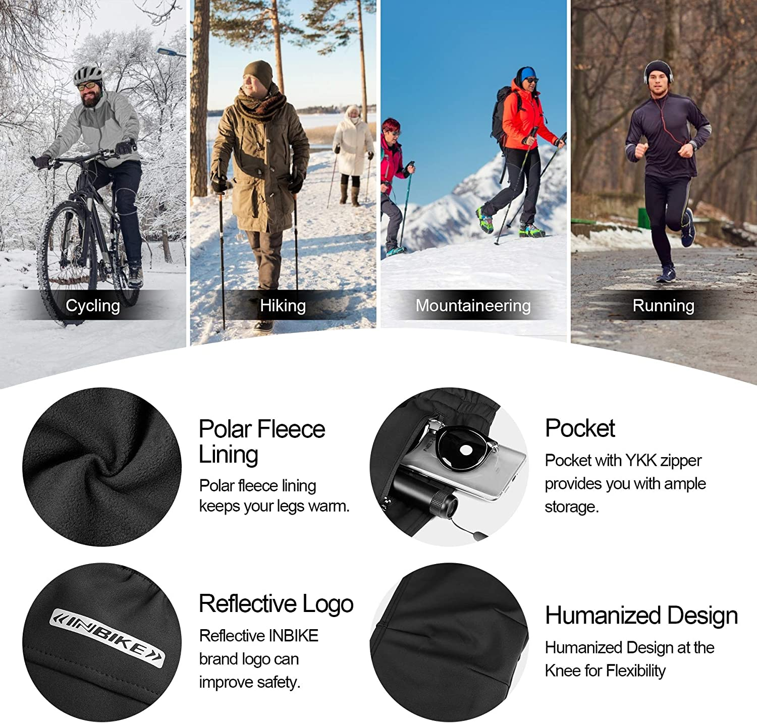 INBIKE Men's Winter Fleece Windproof Thermal Active Pants for Cycling Running Hiking Outdoor Multi Sports : Clothing