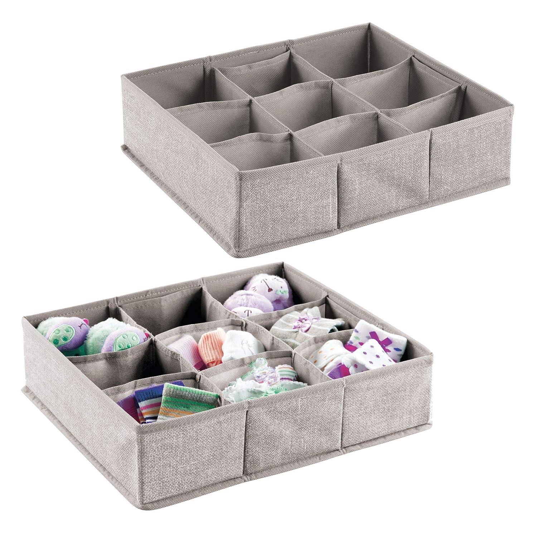 mDesign – Organizador para bebés – Juego de dos cajas organizadoras con nueve compartimentos para calcetines, baberos, etc. – Juego de 2- Organizador de juguetes y articulos de bebés – Color: gris MetroDecor 7919MDB