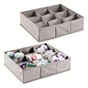 mDesign Soft Fabric 9 Section Dresser Drawer and Closet Storage Organizer for Child/Kids Room, Nursery, Playroom - Divided Large Organizer Bin - Textured Print with Solid Trim, 2 Pack - Linen/Tan