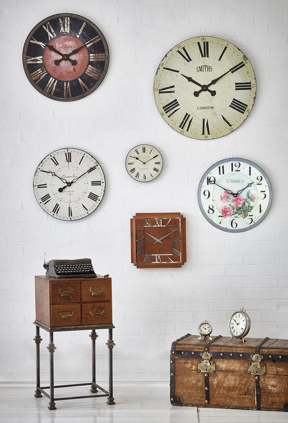 Cream//Pink Medium Roger Lascelles Clocks PUB//WILDROSES Wall Clock