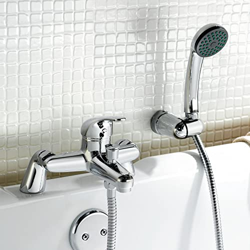 Trueshopping Modern Chrome Deck Mounted Bathroom Single Lever Bath Shower Mixer Kit Tap including Handset Wall Bracket
