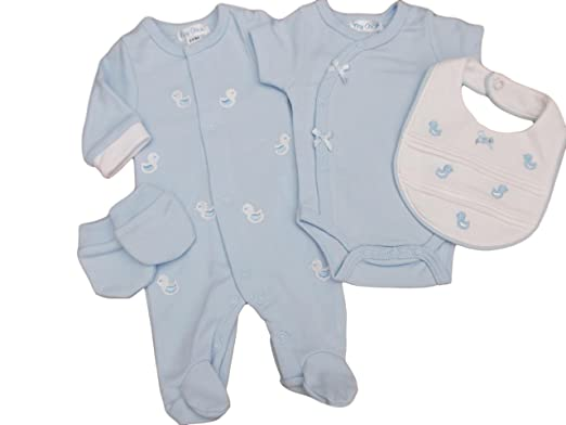 1771c3a65031 with Tags Tiny Baby Boys Blue Premature 4 Piece Little Duck Layette ...