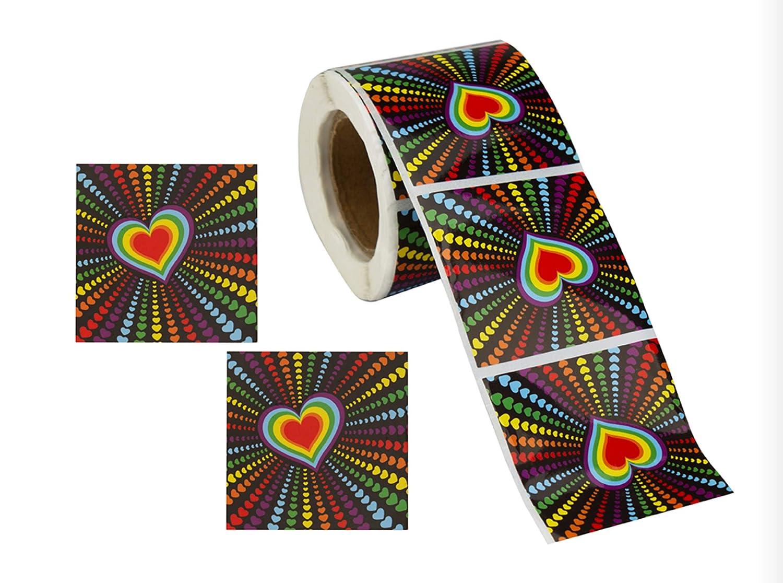 ゲイプライド レインボー ステッカー ロール - 様々な形 マルチカラー B07JHYS7F2 Multi Heart Rainbow Stickers
