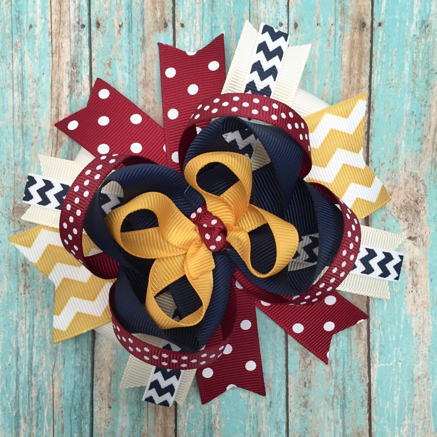 Fall Thanksgiving Mustard Yellow Maroon Burgundy Ivory Navy Hair Bow, Handmade Boutique Fall Color Hair Bow