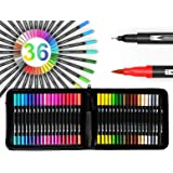 TOOLI-ART 36 Dual Tip Brush Pens Art Markers Set Flexible Brush and 0.4mm Fineliner With Case - Coloring Journaling Lettering Drawing Planner Manga