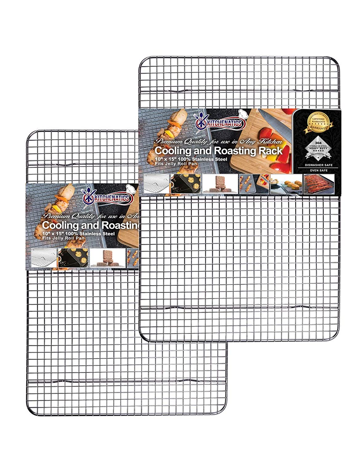"Commercial Grade Stainless Steel Cooling Rack, Thick-Wire Grid Fits Jelly Roll Pan Oven-Safe Rust-Resistant, Nontoxic for Roasting, Baking, Drying, Cooking (10"" x 15"" SET OF 2)"