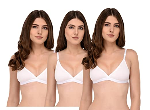 c6c13937043ca Elina Women s T-Shirt White Cotton Hosiery B-Cup Bra.(Set of 3)  Amazon.in   Clothing   Accessories
