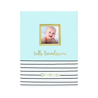 Pearhead Hello Handsome, First 5 Years Baby Memory Book with Photo Insert, Blue