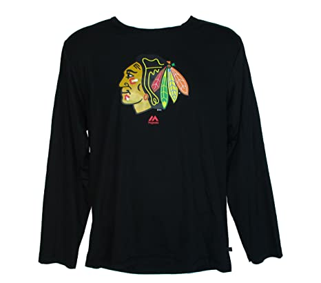 c9b5dbce4 Image Unavailable. Image not available for. Color: Majestic Chicago  Blackhawks Hockey Adult Size Large NHL Authentic Long Sleeve Team Logo Shirt  ...