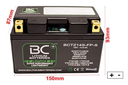 BC Lithium Batteries BCTZ14S-FP-S Batería Litio para Moto LiFePO4 ...
