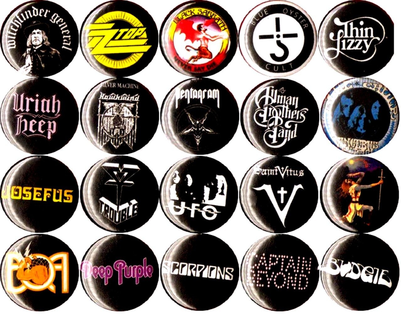 70s STONER ROCK NEW set of 20 1'' inch (25 mm) button pin badge hard nwobhm SLUDGE DOOM AOR heavy metal