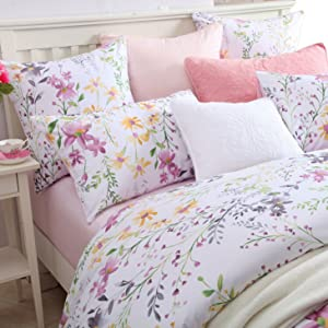 Brandream Luxury Pink Watercolor Floral Duvet Cover Set King Size 3-Piece with Knitted Throw Blanket Cotton Sherpa Reversible Bed Blanket