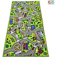 "ToyVelt Kids Carpet Playmat Car Rug – City Life Educational Road Traffic Carpet Multi Color Play Mat - Large 60"" x 32"" Best Kids Rugs for Playroom & Kid Bedroom – for Ages 3-12 Years Old"