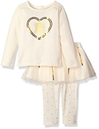 cecabd4d3 Amazon.com: Juicy Couture Baby Girls' 2 Piece Skeggings Set with Mesh  Skirt, Gold, 24 Months: Clothing