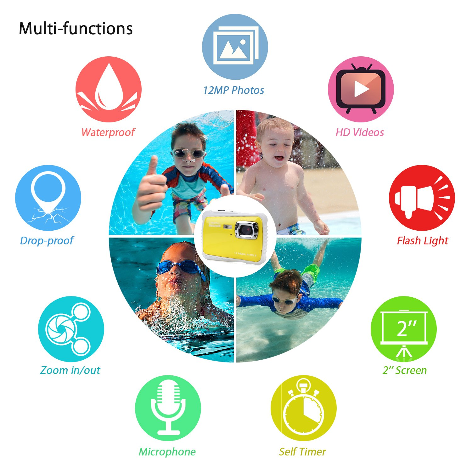 BOMEON Waterproof Camera for Kids Underwater Action Camera Camcorder with 12MP HD 8X Digital Zoom Flash Mic 2.0 Inch LCD Display with 8G SD Card 3 Non-Rechargeable Batteries Included by BOMEON (Image #2)