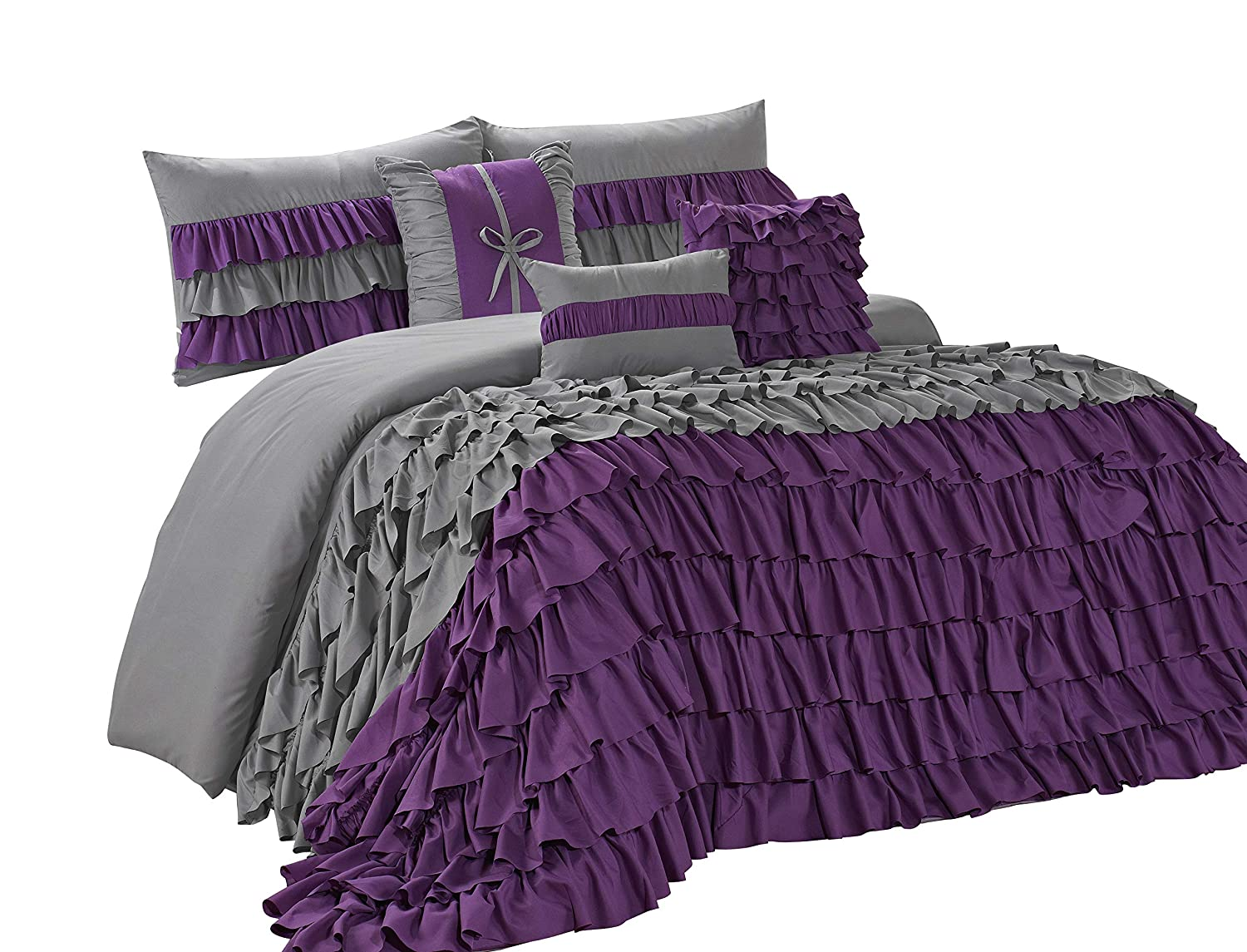 7 Piece BRISE Double Color Ruffled Comforter Set-Queen King Cal.King Size (Queen, Gray/Purple)