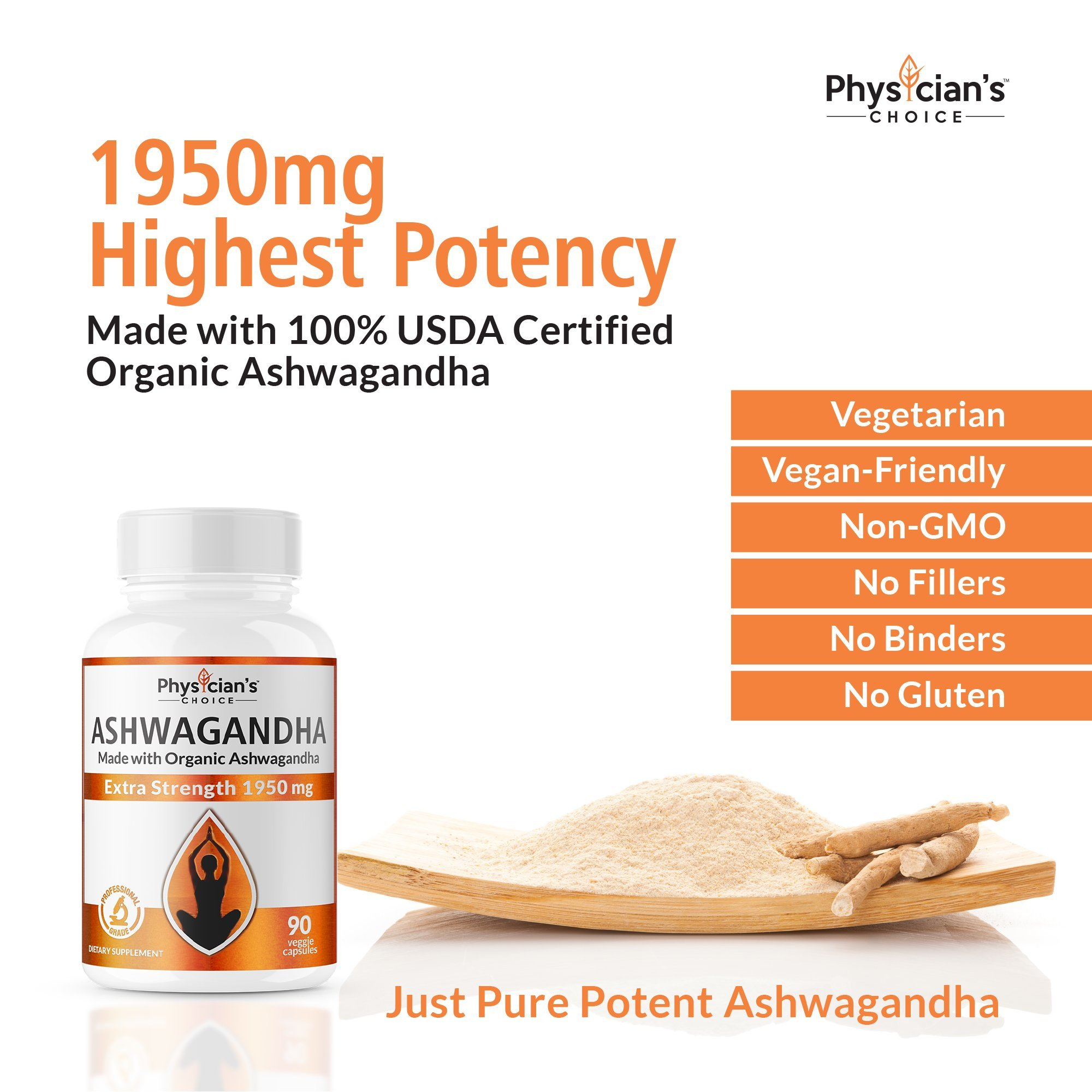 Ashwagandha 1950mg Organic Ashwagandha Root Powder Extract of Black Pepper Anxiety Relief, Thyroid Support, Cortisol & Adrenal Support, Anti Anxiety & Adrenal Fatigue Supplements 90 Veggie Capsules by PhysiciansChoice (Image #3)
