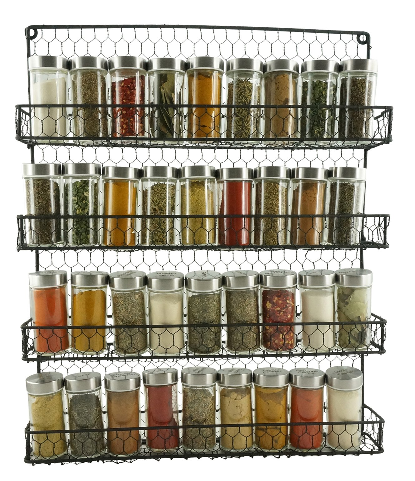 Spice Rack Organizer Country Rustic Wire Style Great Storage for Pantry Cabinet and Kitchen Wall Mounted 4 Tier Shelves Herb Holder Seasoning Jars Organizers Black