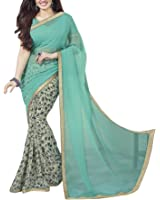 Lajree Designer Women's Georgette Saree With Blouse Piece (Saree For Women01_A, Blue, Free Size)