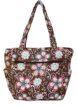 3cbcb95c7f3a Bohemian Print Quilted Multipurpose Market Beach Large Tote Bag (Brown  Flower - Embroidery Monogram)