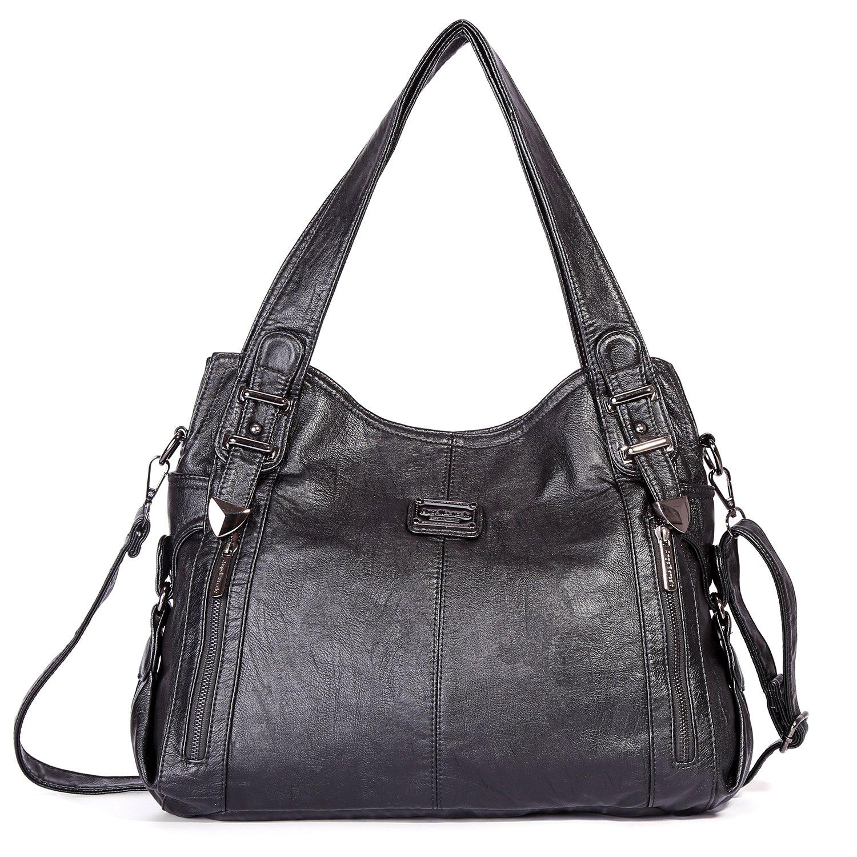 Handbag Hobo Women Bag Roomy Multiple Pockets Street ladies' Shoulder Bag Fashion PU Tote Satchel Bag (1191 Black)