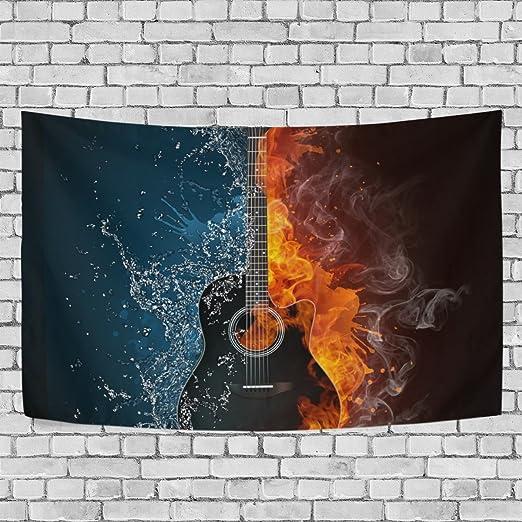 coosun guitarra eléctrica fuego y agua fondo tapiz colgar en la ...