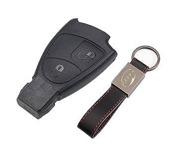 Carcasa Funda Llave Remoto Mando 2 Botones para Mercedes Benz Classe BC e CLK SLK (sin Logo) con Llavero de Cuero KASER