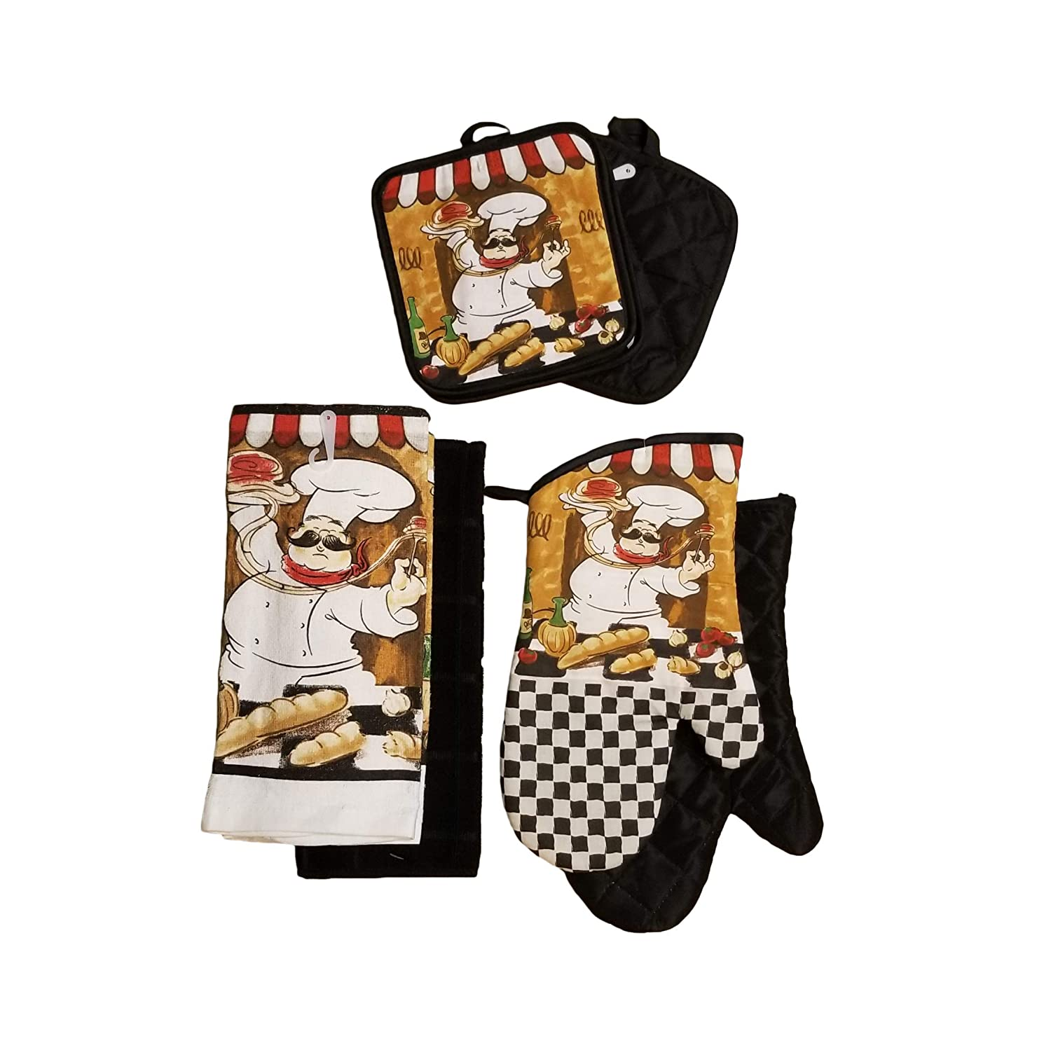 Home Collection Chef-Themed Kitchen Mitts, Pot Holder, Kitchen Towels Set (Black)