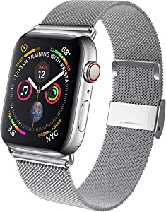 GBPOOT Band Compatible with Apple Watch Band 38mm 40mm 42mm 44mm, Wristband Loop Replacement Band for Iwatch Series 6/SE/5/4/3/2/1,Silver,38mm/40mm
