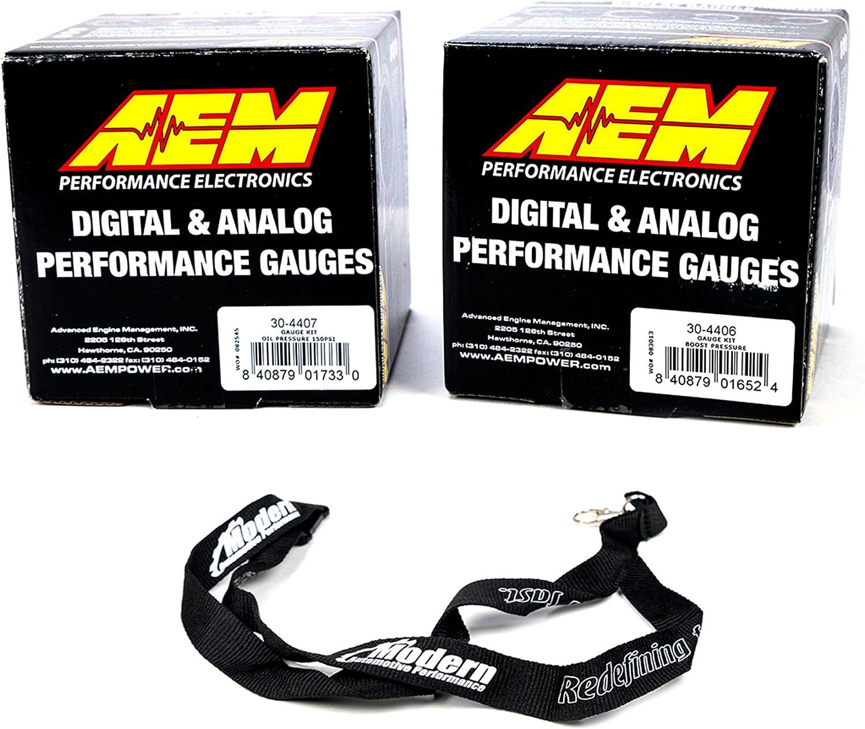 AEM 52mm Digital Gauge Kit Oil Pressure 150psi /& Turbo Boost 30-35 w//MAP Lanyard Black