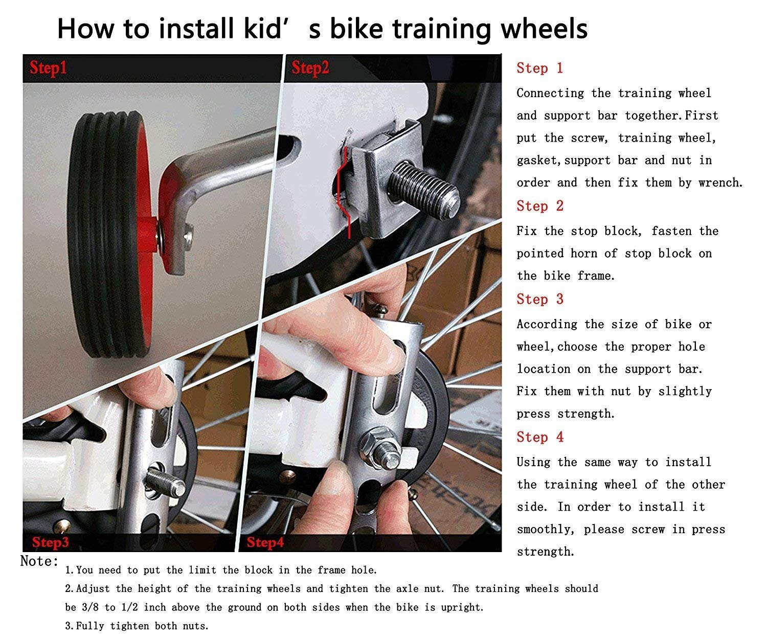 Gugou Children's Bicycle Training Wheels 12-20Inch Universal Kids Bike Stabiliser by Gugou (Image #3)