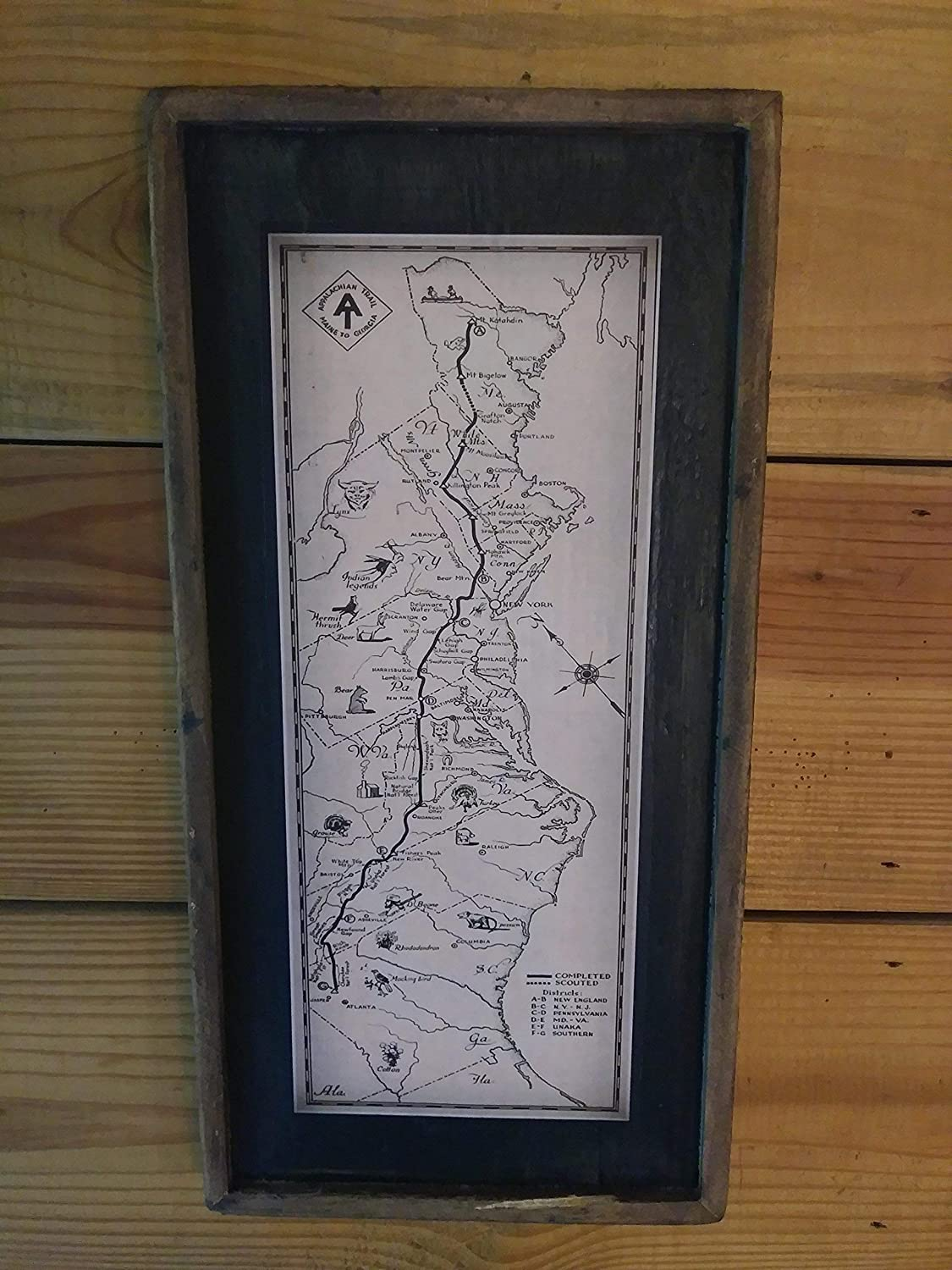 Vintage Appalachian Trail Print - Framed Wooden Sign (long)