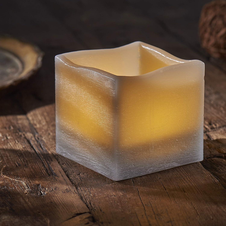 Northpoint LED Echtwachs Kerze mit nat/ürlicher Flackerfunktion und integriertem 6 Stunden Timer Stumpe Lila