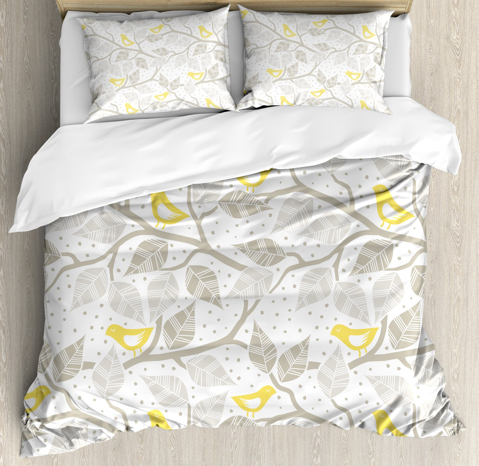 Ambesonne Grey Duvet Cover Set King Size, Birds on the Branch with Pastel Colored Leaves on Dotted Background Nature Art, Decorative 3 Piece Bedding Set with 2 Pillow Shams, Yellow Tan White