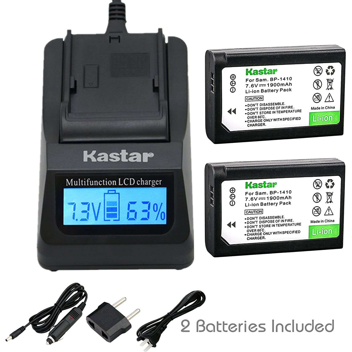 Kastar超高速充電器( 3 x Faster )キットand bp-1410 Battery ( 2 - Pack ) for Samsung bp1410 and Samsung nx30 wb2200 Fデジタルカメラ B01E2YCI5E