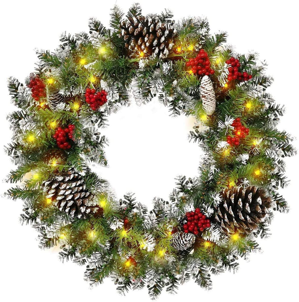 Leaflai Christmas Wreath Windows Outdoor Artificial Garland Xmas LED Light Wreath 24 Inch Home Christmas Wreath Decor Farmhouse Windows