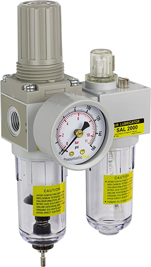 PneumaticPlus SAU210-G02G Mini r/égulateur de filtre /à air comprim/é Bol en poly support vidange manuelle lubrificateur Piggyback Combo 1//4 BSPP jauge