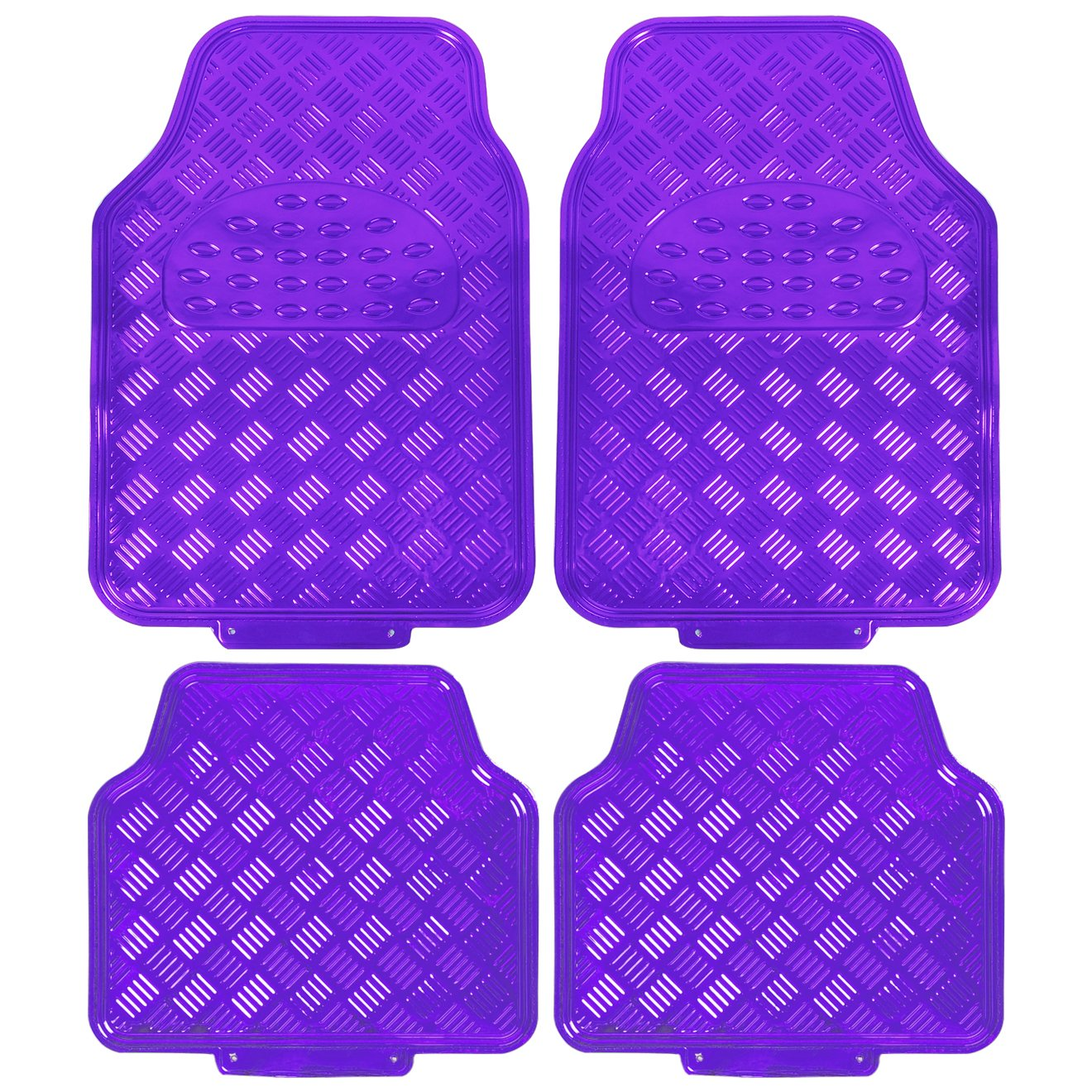WOLTU AM7162 Universal Non-Slip PVC Car Floor Mat Set of 4 Piece Front /& Rear Glossy Purple